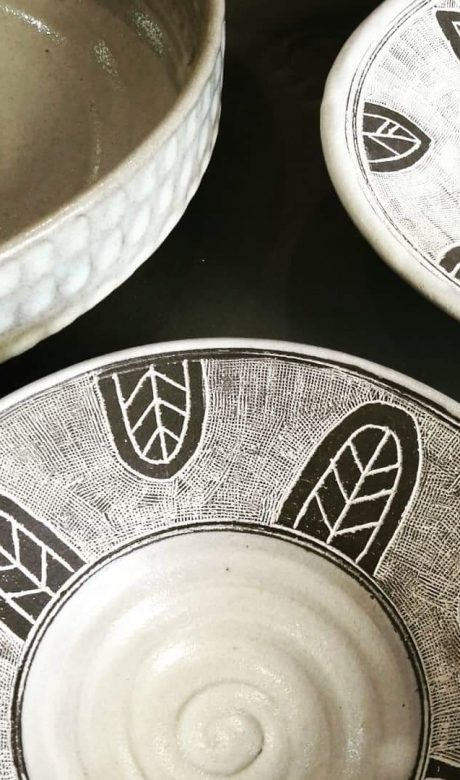 Hand etched bowls by Richard Pullen